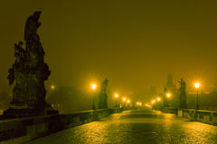 Charles Bridge in Prague (Czech Republic) at night lighting Royalty Free Stock Photography