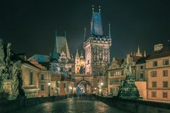 Charles Bridge in Prague, Czech Republic, at night Stock Image