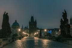 Charles Bridge in Prague, Czech Republic, at night lighting Royalty Free Stock Photos