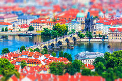 Charles Bridge in Prague, Czech Republic. Scenic summer aerial panorama of the Old Town pier architecture with Charles Bridge and Vltava river in Prague, Czech stock photo