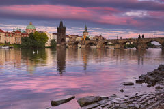 The Charles Bridge in Prague, Czech Republic at sunset Stock Image