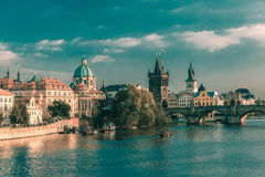 Charles Bridge in Prague, Czechia, at evening Royalty Free Stock Image