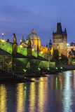 Charles Bridge. In Prague dusk Royalty Free Stock Photography