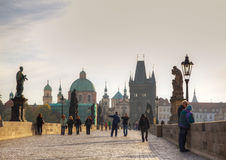 Charles bridge in Prague early in the morning Stock Photo