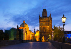 Charles bridge in Prague early in the morning Royalty Free Stock Photography