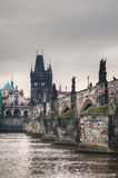 Charles bridge in Prague early in the morning Royalty Free Stock Photos