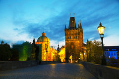 Charles bridge in Prague early in the morning Royalty Free Stock Photo