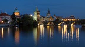 Charles Bridge in Prague at evening Stock Image