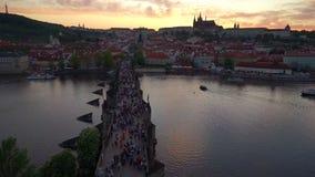 Charles Bridge Prague stock footage