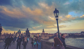 Charles Bridge in Prague, full of people Royalty Free Stock Photography