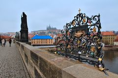 Charles bridge in Prague with love locks, Czech republic Royalty Free Stock Photo