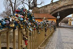 Charles bridge in Prague with love locks, Czech republic Royalty Free Stock Image