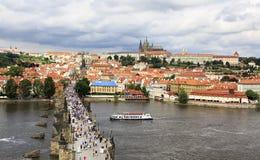 Charles Bridge in Prague. (medieval bridge over the river Vltava Stock Images
