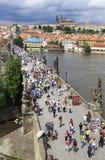 Charles Bridge in Prague. (medieval bridge over the river Vltava Royalty Free Stock Images