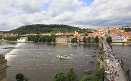 Charles Bridge in Prague. (medieval bridge over the river Vltava Royalty Free Stock Photography