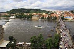 Charles Bridge in Prague. (medieval bridge over the river Vltava Stock Photography