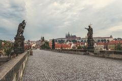 Charles Bridge in the morning stock photos