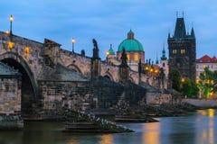 Charles Bridge. In Prague at night Stock Images