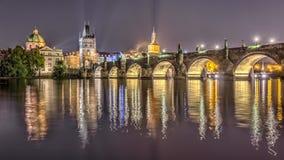 Charles bridge in Prague. At night, Czech Republic. Hdr image Stock Photos