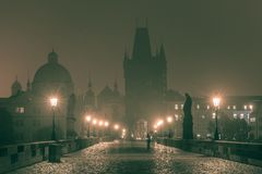 Charles Bridge in Prague at night, Czech Republic stock photos