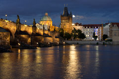 Charles Bridge in Prague at night Stock Images