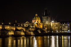 Charles Bridge in Prague. Night shot of the best known bridge in Prague stock photo