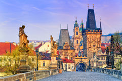 Charles Bridge in Prague old town, Czech Republic Royalty Free Stock Photos