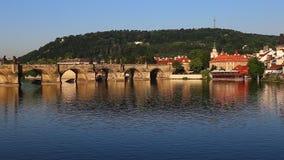 Charles Bridge in Prague stock video footage