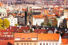 Charles Bridge and Prague roofs Royalty Free Stock Images