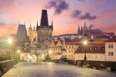 Charles Bridge in Prague at sunrise, Czech, Europe. View of the Lesser Bridge Tower of Charles Bridge in Prague (Karluv Most) at sunrise, Czech Republic, Europe Stock Images