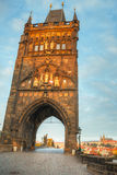Charles bridge in Prague at sunrise time Stock Photos