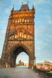 Charles bridge in Prague at sunrise time Stock Photos