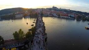 Charles Bridge in Prague stock video