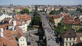 Charles bridge in Prague stock footage