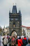 Charles Bridge in Prague. Tourists on the Charles Bridge in Prague, Czech Republic Royalty Free Stock Photo