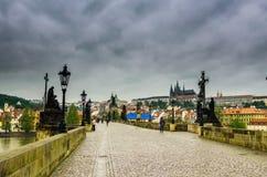 Charles Bridge Prague view from above stock image
