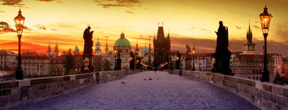 Charles Bridge in the Prague Stock Photography