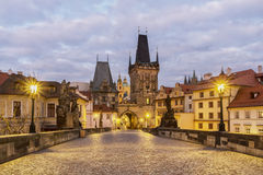 Charles bridge, Prague. View of spires of the old town from charles bridge. Prague. Czech Royalty Free Stock Photos