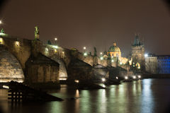 Charles Bridge in Prague. On a winter night Stock Photo