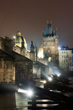 Charles Bridge in Prague. On a winter night Stock Images