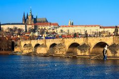 Charles Bridge with reflection in the morning Royalty Free Stock Photography