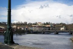 Charles bridge on river Vlatava in Prague City Royalty Free Stock Image