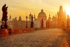 Charles Bridge scenic view at sunrise, Prague, Czech Republic. Europe Stock Image