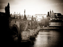 Charles Bridge in sepia, Prague Stock Images