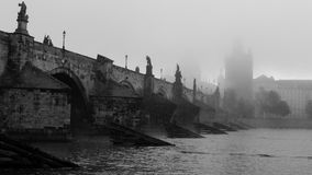Charles bridge from the side on misty morning Royalty Free Stock Image