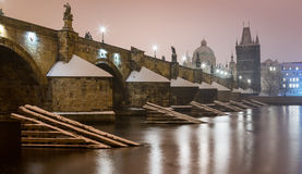 Charles Bridge side view Stock Photos