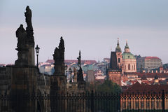 Charles Bridge and St. Nicholas Church, Prague Royalty Free Stock Photography