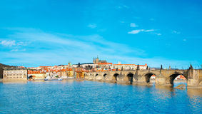 Charles Bridge, St. Vitus Cathedral and historical Prague Stock Images