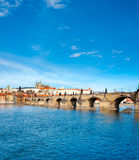 Charles Bridge, St. Vitus Cathedral and historical Prague Royalty Free Stock Photography