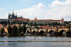 Charles Bridge and St Vitus Cathedral in Prague Stock Photos